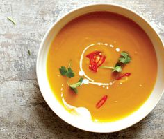 Spicy Carrot Soup With Kaffir Lime Leaves and Coconut
