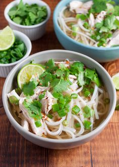 Chicken Pho! 30-minutes EASY shortcut version of traditional Vietnamese noodle soup. #ChickenSoup #pho #VietnameseFood