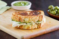 Pesto, Turkey and Swiss Melt on La Brea Bakery Three Cheese Semolina Loaf