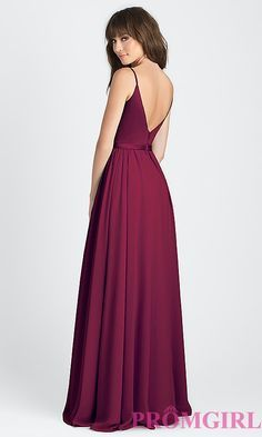 Image of classic a-line long prom dress in burgundy red. Style: NM-BM-A1503 Back Image