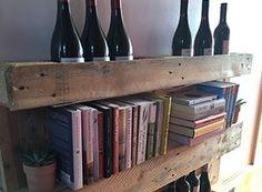 Pallet wine storage and bookshelf