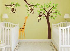 jungle monkeys tree with Giraffe nursery wall decor decal woodland animals baby boy's bedroom wall decal vinyl sticker