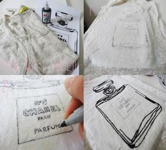 Clever idea, might try this! Trends With Benefits: DIY: Chanel No.5 T-shirt