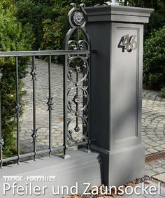 classic modern pillar made of concrete consisting of three parts pillar base, shaft with rectangular mirror and the capital with pointed cover plate. Fence socket suitable for the pillar. House Outside Design, House Gate Design, Door Gate Design, Entrance Design, Facade Design, Fence Design, Concrete Fence Wall, Front Wall Design, Compound Wall Design