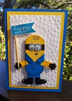 handmade birthday card from Julia's Cards ... Minion punch art ... bright white, blue and yellow ... luv the big dot embossing folder texture ... Stampin'Up!