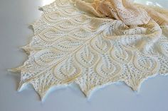Ecru Hand knitted shawl wedding bridal lovely by DosiakStyle