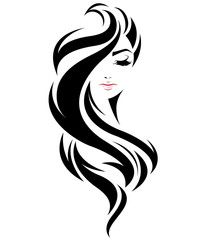 illustration of women long hair style icon, l. illustration of women long hair style icon, logo women face on white background, vector women long hairstyles women long haircut female long arm hair . Drawing Sketches, Art Drawings, Arte Linear, Salon Art, Silhouette Art, Woman Face Silhouette, Stencil Art, Paint Designs, Vector Art