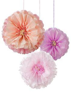 Blush Flower Pom Poms - Tissue Paper Flower Party Decorations - Party Ark