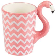 Ziggy the Flamingo Mug ($10) ❤ liked on Polyvore featuring home, kitchen & dining, drinkware, ziggy and flamingo mug