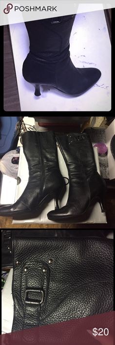 Black boots Your everyday black boots. Great condition. No major defects like leather peeling or big scuff marks. Heal taps still good. Very comfortable. Heal is about 2 inches. Or maybe less. Size 6 but have enough room to fit 6.5.Open for reasonable offers. Make sure to check out my closet for more great stuff and deals😎💥🔥 bundle and Save Shoes Heeled Boots