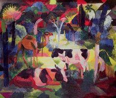 Macke Kunstdruck Landschaft mit Kühen und Kamel