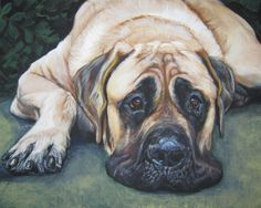 American mastiff art print CANVAS print of LA by TheDogLover, $19.99