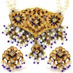 Jadthar Diamond Set with Pearls & Blue Beads