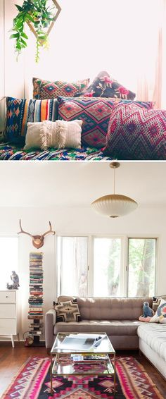 Yes please! Love the textiles! Ditch the antlers :( and I need to reupholster my sofa like that...