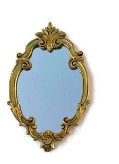 French Gilded Mirror Florentine Rococo Baroque Style Antique Vintage Wall or Mantel Mirror Hollywood Regency Home Decor from France