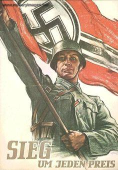 """Nazi propaganda poster .  Says : """" Victory at any prise """" ..."""