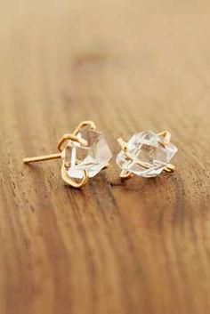 Herkimer diamond stud earrings-14 karat gold by Melissa Joy Manning