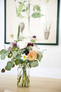 Flores vaso de vidro