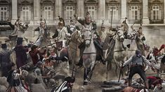 z- Cavalry Running Down Protesters- Palacio Real de Madrid- on Dos de Mayo, 1808 Military Art, Military History, Le Colonel Chabert, Dragons, Independence War, War Of 1812, French Army, Napoleonic Wars, France