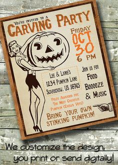 Vintage HALLOWEEN PARTY ~ Pumpkin Carving Party ~ Adult ~ 5x7 Invite ~ 8.5x11 Flyer ~ 11x14 Poster ~ 300 dpi Digital Invitation