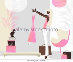Woman admiring new dress in stylish living room - Stock Image