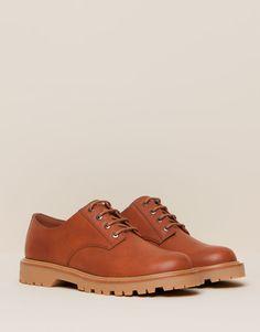 Pull&Bear - mujer - zapatos mujer - blucher pespuntes - cuero - 11165111-V2016