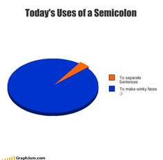 Uses of a Semicolon – Funny Pics, Memes & Captioned Pictures The Funny, Funny Stuff, Nerd Stuff, Funny Pics, Funny Things, Random Stuff, Funny Pictures, Funny Pie Charts, Humor
