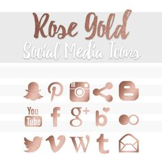 Rose Gold Social Media Icons by LianaTerryDesigns on Etsy