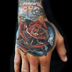 150 Trendy Hand Tattoos for Men You Must See - Tattoo Me Now Hand And Finger Tattoos, Hand Tattoos For Guys, Trendy Tattoos, Tattoos For Women, Skull Hand Tattoo, Rose Hand Tattoo, Watercolor Rose Tattoos, Watercolor Flower, See Tattoo
