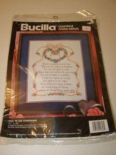 Paul To The Corinthians Christian Counted Cross Stitch Kit 14 Count on Aida Love #Bucilla #14CountCrossStitchonAida