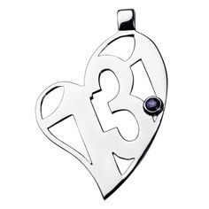 Sterling Silver 13.1 Heart with Iolite Gem Stone Pendant