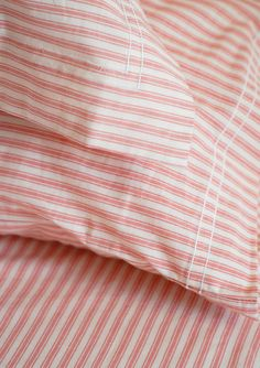 Organic ticking sheets, wish I had some today! Linen Bedroom, Linen Bedding, Bed Linens, Awesome Bedrooms, Beautiful Bedrooms, Textiles, Farm House Colors, Red Cottage, Ticking Stripe