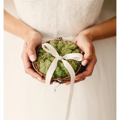 twig nest and moss ring bearer pillow, woodland wedding decor LOVE... ($28) ❤ liked on Polyvore featuring home, home decor and throw pillows