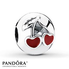 Two cherries depicted in red enamel adorn this sterling silver clip from the Pandora Moments Spring 2013 collection. Style # 791093EN39.