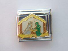 Sale - Casa D Oro - Christmas Nativity Charm - Italian Charm Bracelet - 9mm Link, $7.00