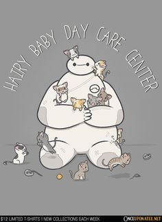 Hairy Baby Daycare Center is available this week only as a tee, hoodie, phone case, and more! Available until 10/12 at OnceUponaTee.net starting at $12! #Baymax #Animation #Pixar