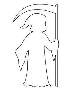 Grim Reaper pattern. Use the printable outline for crafts, creating stencils, scrapbooking, and more. Free PDF template to download and print at http://patternuniverse.com/download/grim-reaper-pattern/