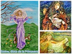 ostara eostre diosa primavera Wiccan Magic, Ideas, Painting, Fictional Characters, Art, Spring, Art Background, Painting Art, Kunst