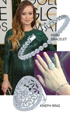 Get Olivia Wilde's Golden Globes look from Coronet Diamonds Kneph #Diamond #Ring