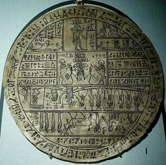 """Hypocephalus (300 B.C.) cartonnage of linen, plaster, and reed pen ink, Thebes - on the edge of this round amulet are 162 spells from the Book of the Dead, including: """"to give rise under the head of the deceased a flame."""" Such an amulet is called a hypocephalus, which is Greek for under head. The amulet was to create heat under the head of the deceased to unite him with the sun god."""