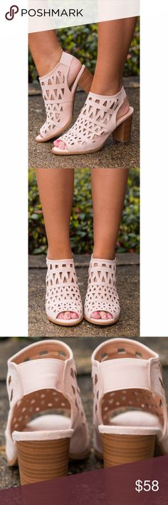 """Blush Peep Toe Bootie Sandal These Bootie sandals are so trendy. With a cutout design, sling back and Peep Toe. Chunky 3"""" heel. Bchic Shoes Ankle Boots & Booties"""