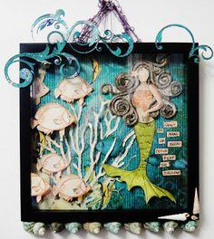 Scraps of Darkness scrapbook kit club: Mixed Media Youtube video tutorial: Nancy Hantula created this stunning mermaid / ocean wall hanging and a video tutorial showing you how. www.scrapsofdarkness.com