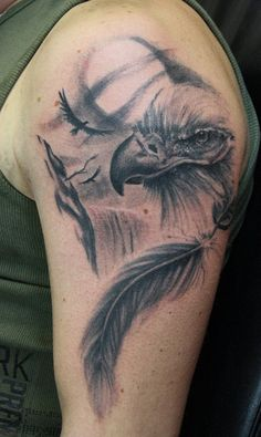 Eagle and feather - 30 Awesome Eagle Tattoo Designs  <3 <3