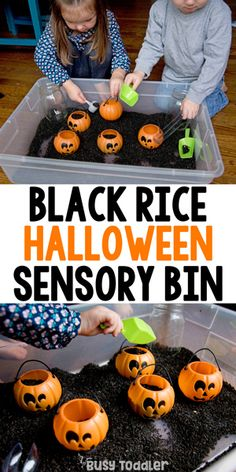 Black Rice Sensory Bin for Halloween #busytoddler #toddler #toddleractivity #easytoddleractivity #indooractivity #toddleractivities #preschoolactivities  #homepreschoolactivity #playactivity #preschoolathome