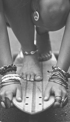 Street style fashion, skater girl bracelets, girly tomboy, skateboarding…