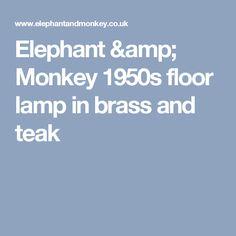 Elephant & Monkey 1950s floor lamp in brass and teak