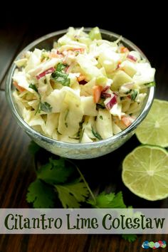 Cilantro Lime Coleslaw Recipe is the perfect side for barbeques and get-togethers!