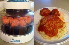 Karen M. made these homemade meatballs in her NuWave Oven, and just in time for National Pork Month, too!    Ingredients:  1 1/2 pounds ground chuck  1 pound sausage  1 cup Minute Rice  1 tablespoon garlic    Directions:  1. Mix all ingredients well and roll into meatballs. Karen made hers slightly bigger than golf balls.  2. Cook for 12 minutes, turn them over and cook another 10 minutes.   3. Cover with sauce in a saucepan. Heat and serve.