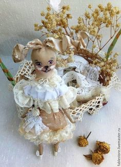 Купить Зайка   текстиль, винтаж - бежевый, кофейный, кофейный заяц, кофейная зайка, кофейная игрушка