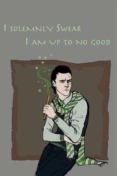 Loki as a Hogwarts student. Guessing he's in Slytherin.